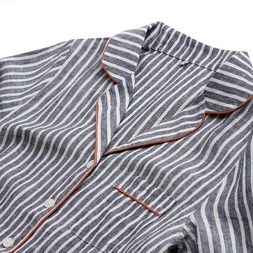 Midnight Stripe Linen Pyjama Set, Small