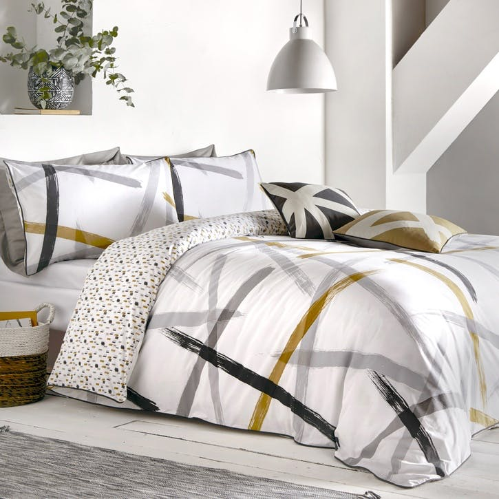 Ember Bedding Set, Double, Grey & Ochre