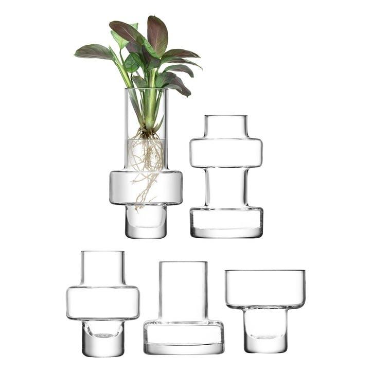 Metropole, Mini Vase, Set of 5, Clear