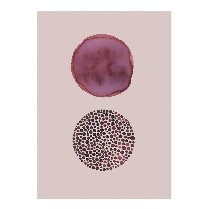 Blush and Berry Abstract Dots Print
