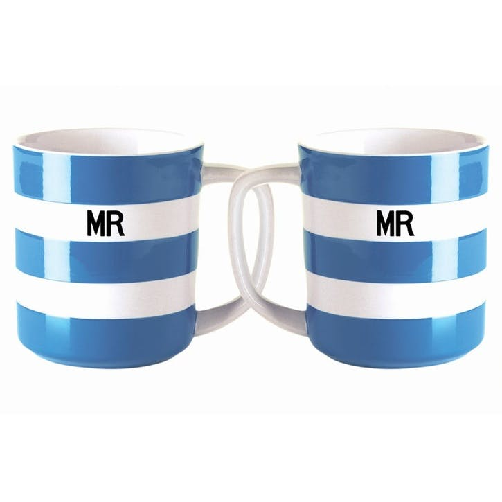 Cornish Blue 'Mr & Mr' Mugs, 10oz