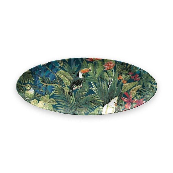 Lush Jungle Foliage Melamine Oval Platter, 61 cm