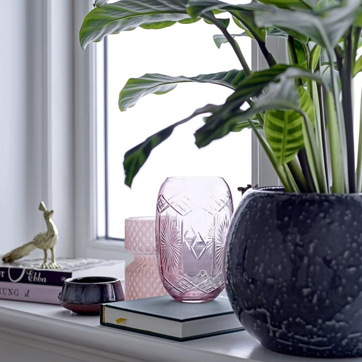 Etched Glass Vase, Pink