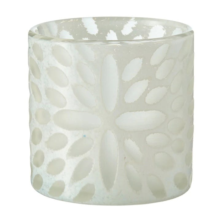 Bukva Glass Candle Holder, White