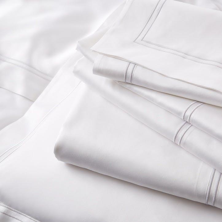 Symons Cord Flat Sheet, King, White Silver