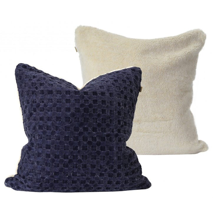 Waffle Cushion with Sherpa Fleece, Navy