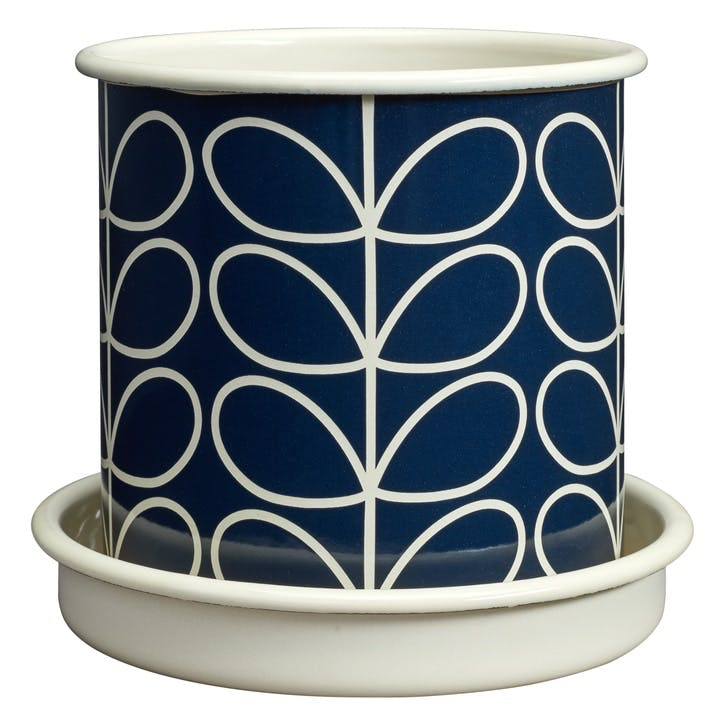 Linear Stem Plant Pot, Medium, Navy