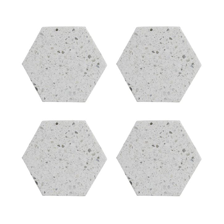 Elements Terrazzo Hexagon Coasters, Set of 4