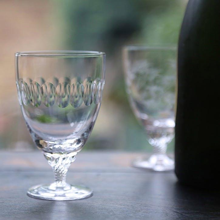 Lens Patterned Crystal Bistro Glasses, Set of 6