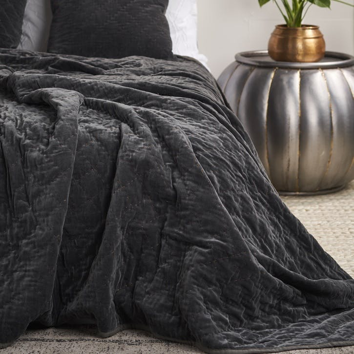 Quilted Velvet Bed Spread; Slate Grey