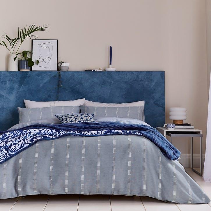 Chambray Super King Bedding Set, Soft Blue