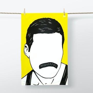 Icon Freddie Mercury Tea Towel Yellow  47cm x 74cm