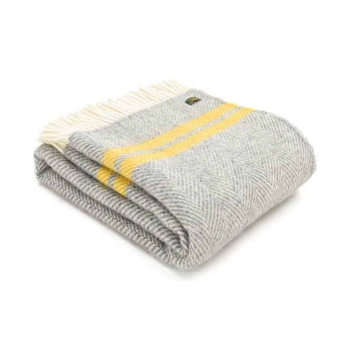 Fishbone 2 Stripe Throw; Grey & Yellow