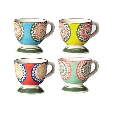Florya Stoneware Espresso Cups, Set of 4, Multi