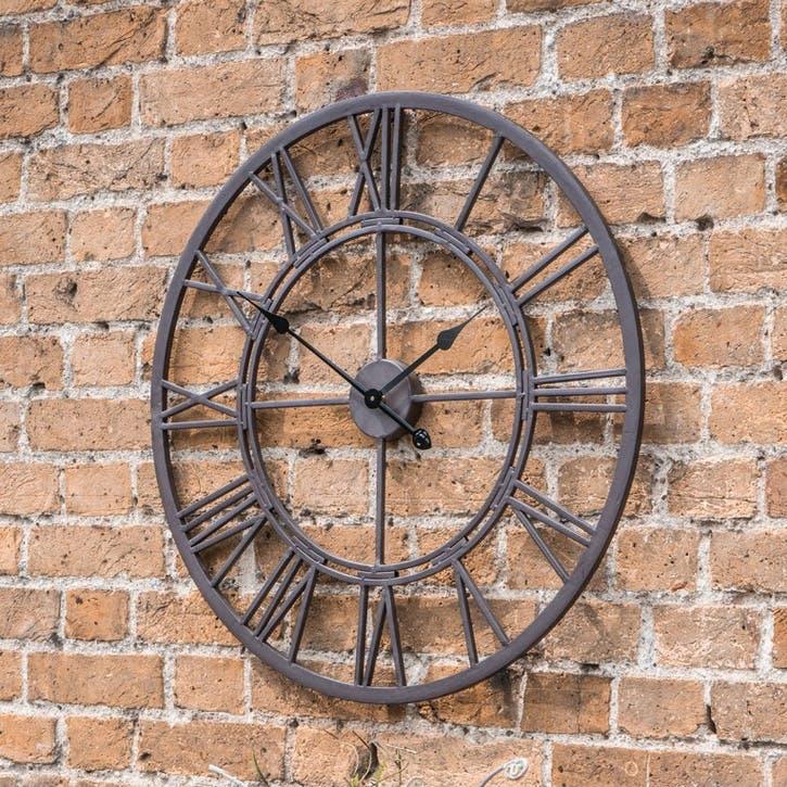Outdoor Skeleton Wall Clock, 70cm, Ember