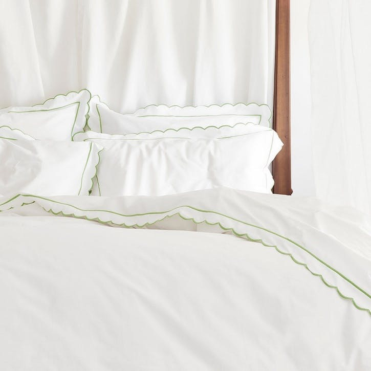 Green Scalloped Super King Size Duvet Cover