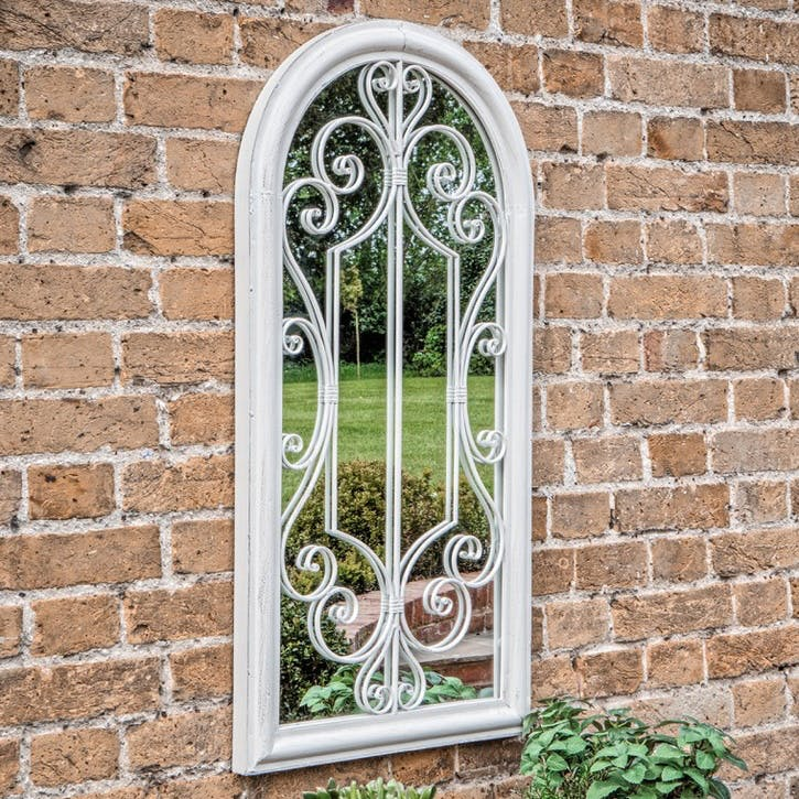 Renaissance Outdoor Mirror, White