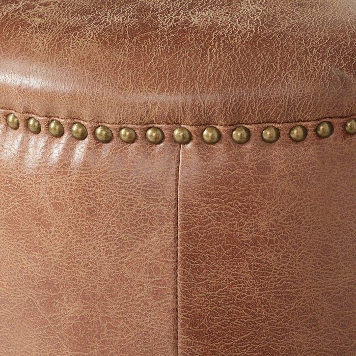 Costellini Leather Ottoman, Aged Tobacco