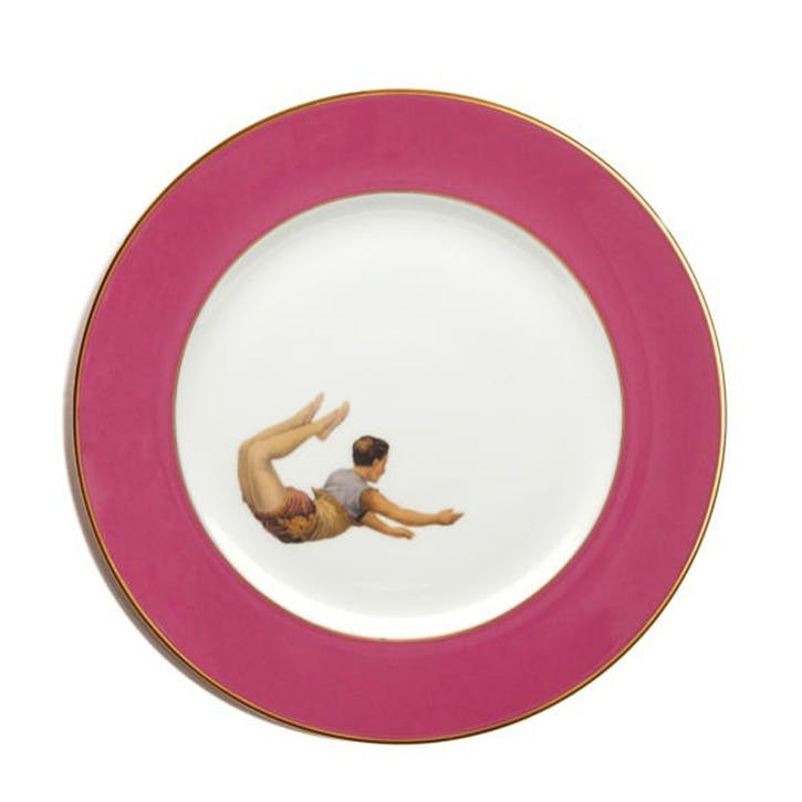 Acts Of Daring Trapeze Boy Dinner Plate, Raspberry Pink
