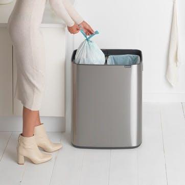 Bo Large Recycling Bin with 2 Inner Buckets, Matt Steel Fingerprint Proof