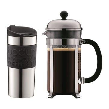 Travel Mug, 350ml, Silver/Black