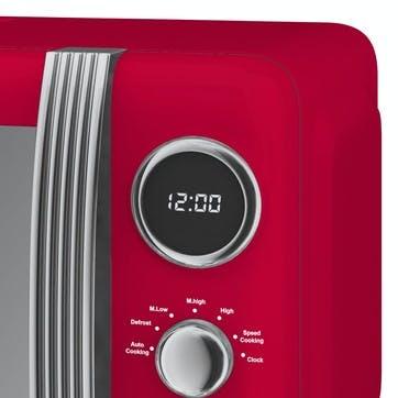 Retro 800W Digital Microwave, Red