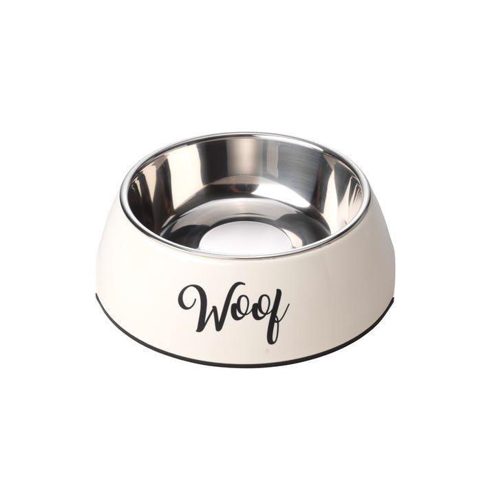 Woof 2 in 1 Dog Bowl, M, Cream