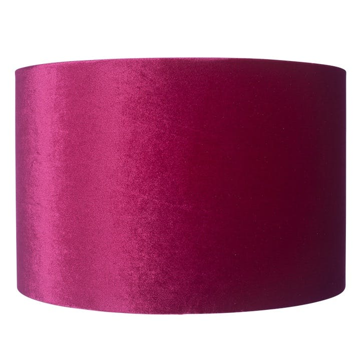 Velvet Cylinder Shade - 30cm; Raspberry