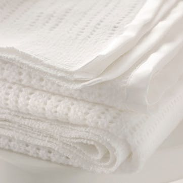 Cellular Satin Blanket, Cot Size, White