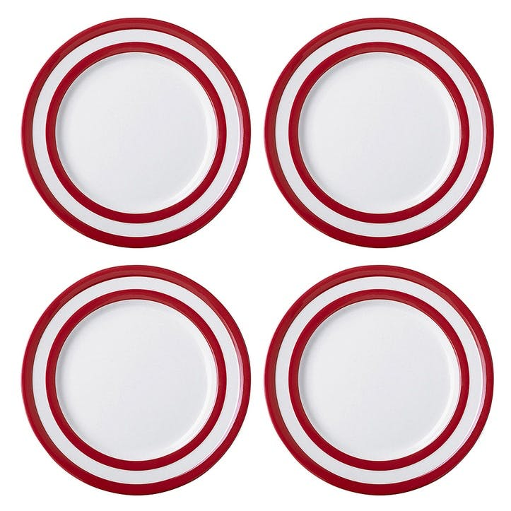 Set Of 4 Breakfast Plates, 24cm, Red