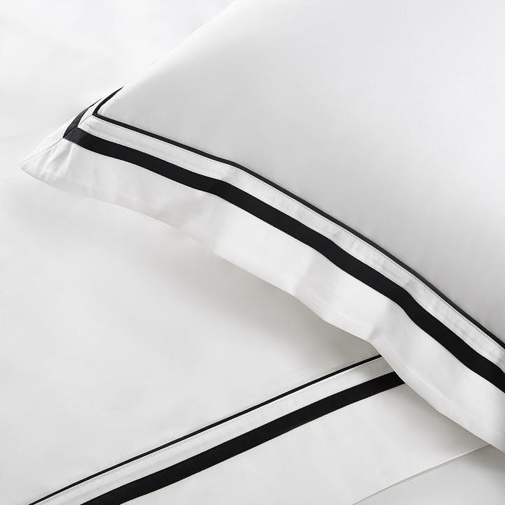 Cavendish Flat Sheet, Super King, White And Black