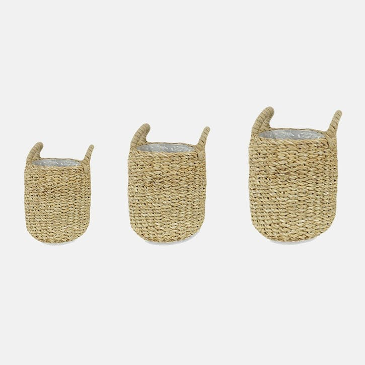 Luosto, Set Of 3 Lined Baskets, Natural