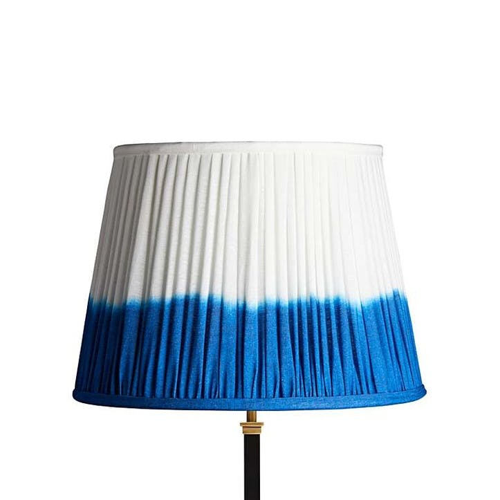 Straight Empire Shade, 40cm, Blue Shibori Linen
