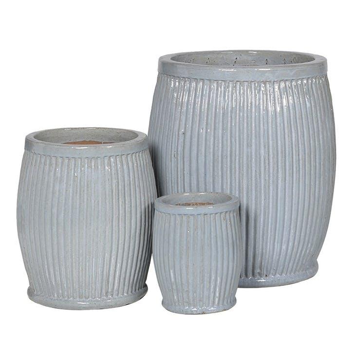 Set of 3 Ribbed Ceramic Planters