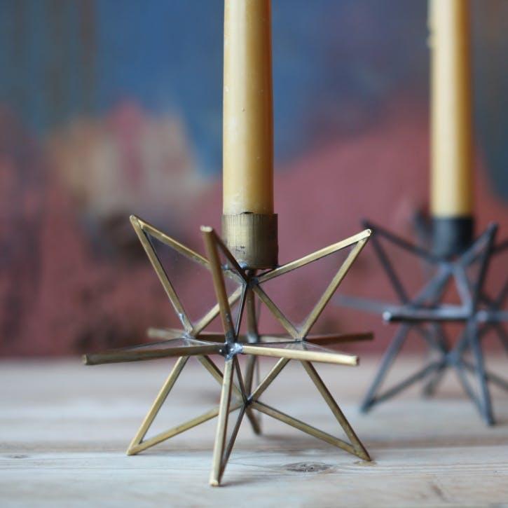 Moba Star Candlestick; Antique Brass