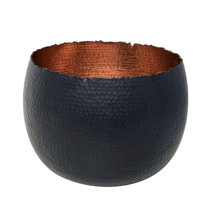 Hammered, Bowl Planter, 30cm, Black/Copper