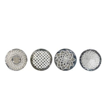 Avani Etched Glass Coasters, Set of 4