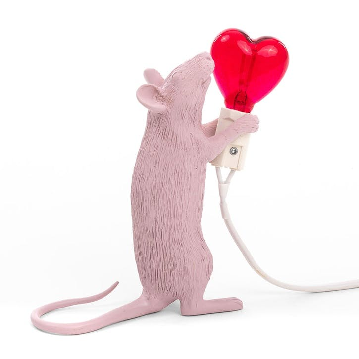 Mouse Lamp, Valentines Pink