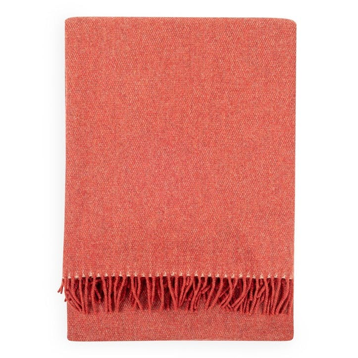 Two Tone Merino Throw, Terracotta Red
