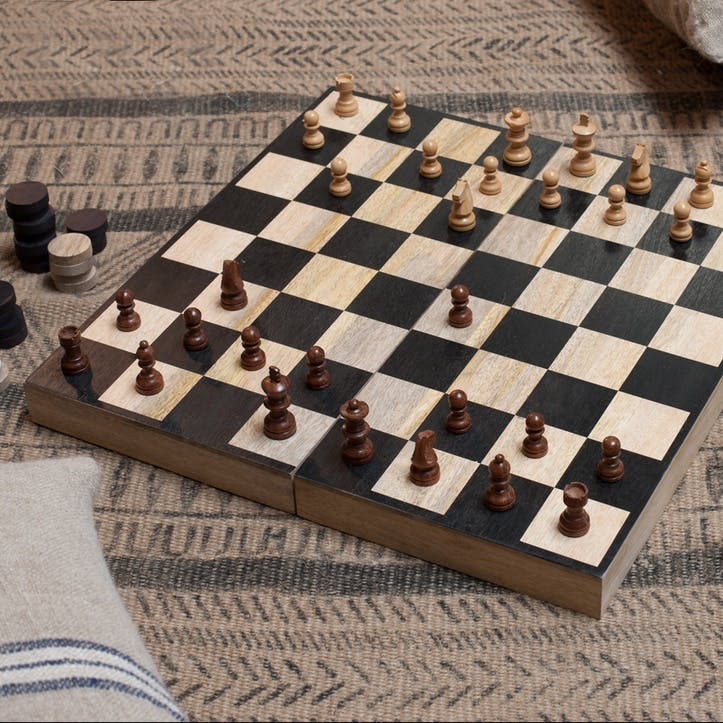 Mango Wood Chess & Draughts Set