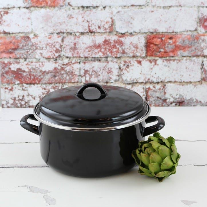 Enamel Casserole Dish, 22cm/4L, Black