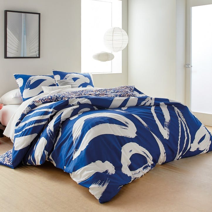 Abstract Floral Super-King Duvet Cover, Blue