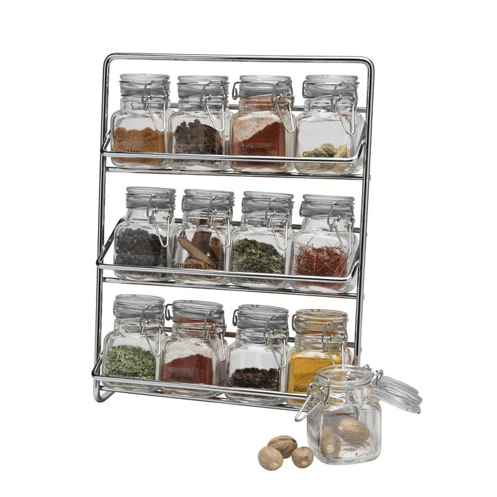 Pisa Spice Rack with 12 Clip Top Glass Jars, Chrome
