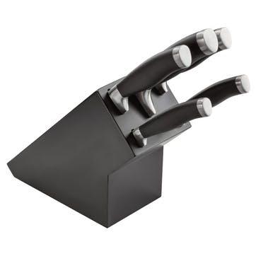 5 Piece Knife Block Set, Black