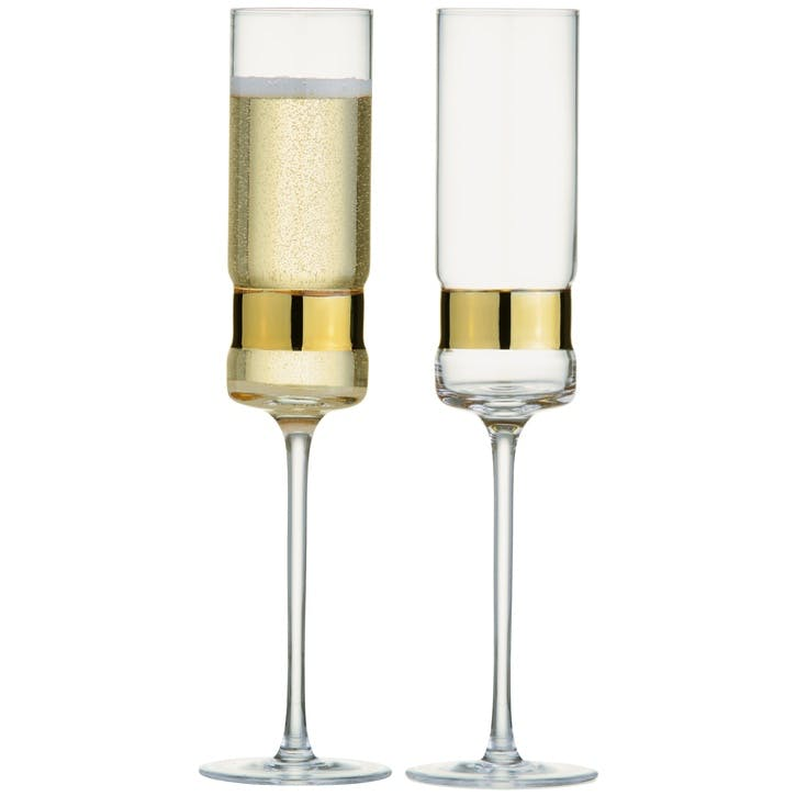 SoHo Gold Champagne Flutes, Set of 2