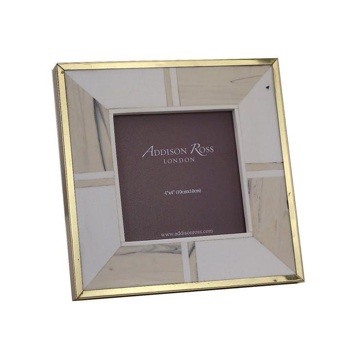 "White Bone Photo Frame With Brass Border - 4"" x 4"""