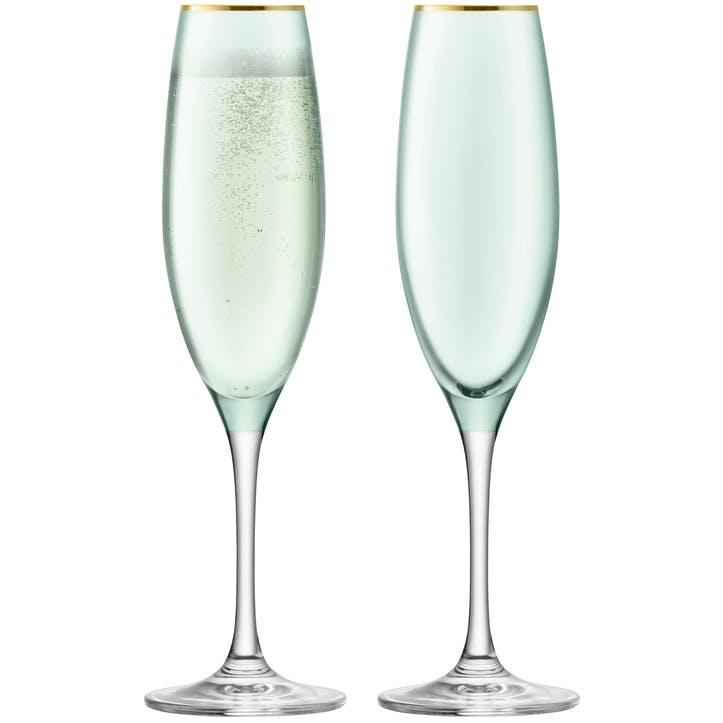 Sorbet Set of 2 Champagne Flutes; Melon