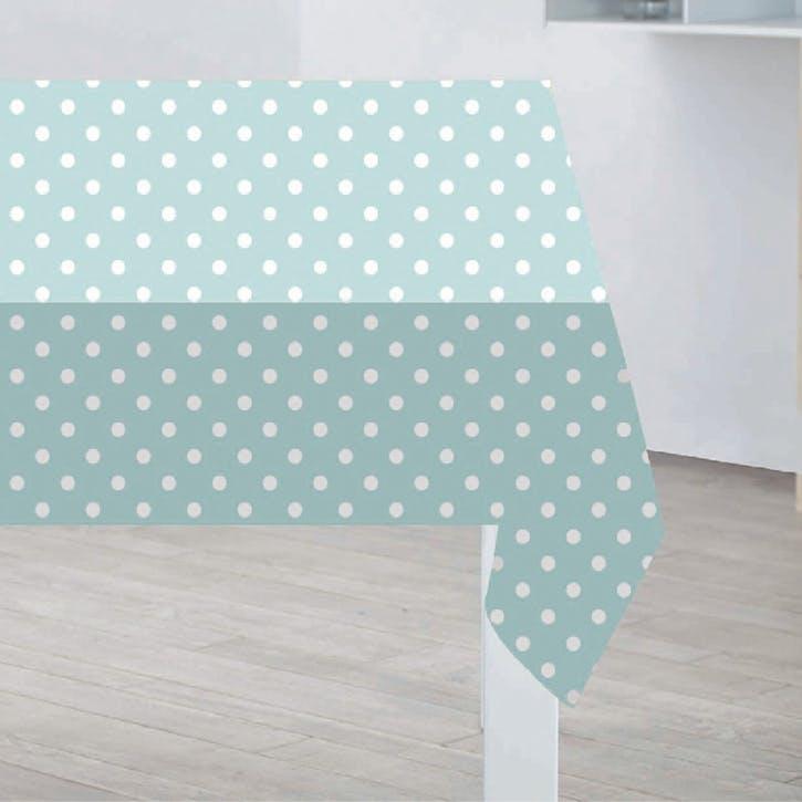 Polka Dot PVC Tablecloth, Duck Egg