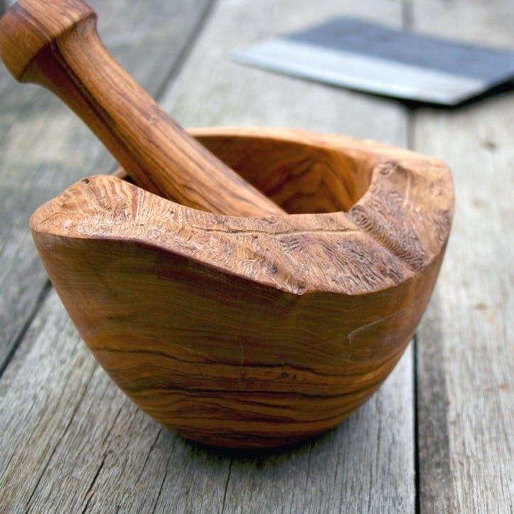 Olive Wood Pestle & Mortar - 18cm