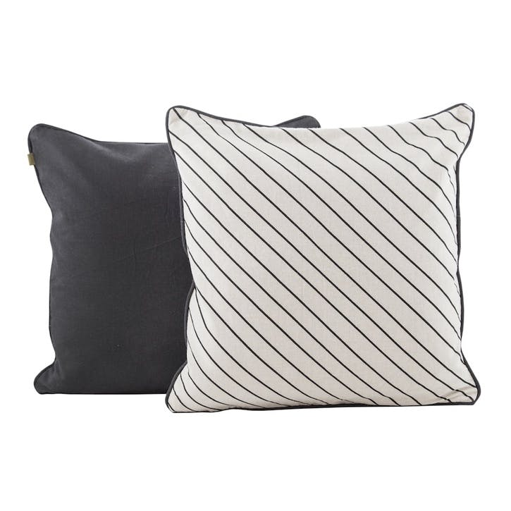 Diagonal Pinstripe Cushion, Raven